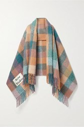 Acne Studios Valley Fringed Checked Knitted Scarf Pink