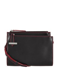 Lodis Trisha Leather Double Zip Crossbody Wallet Black