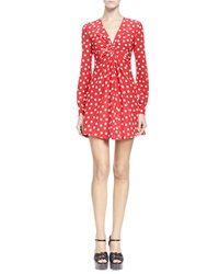 Saint Laurent Long Sleeve V Neck Polka Dot Dress