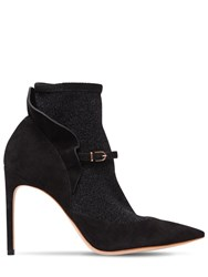 Sophia Webster 100Mm Lucia Suede And Lurex Ankle Boots Black