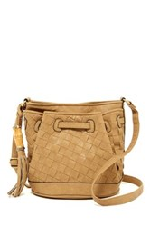 Bueno Of California Faux Leather Woven Crossbody Bag Beige