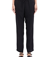 Valentino Pleated Silk Cropped Pants Black