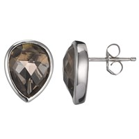 A B Davis Sterling Silver Quartz Stud Earrings Brown