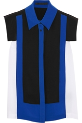 Karl Lagerfeld Festa Color Block Silk Shirt Blue