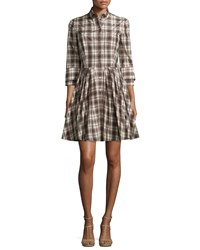 Michael Kors Collection Button Front Double Cuff Shirtdress Muslin Black Women's Size 14