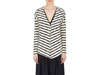 Pas De Calais Women's Striped Puckered Cotton Blend Jersey Cardigan Ivory Black White
