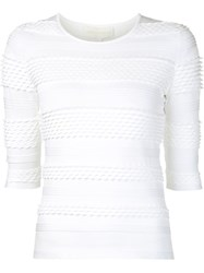 Christian Siriano Textured Knit Top White