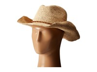 Hat Attack Raffia Crochet Cowboy With Bead Trim Natural Wood Traditional Hats Black