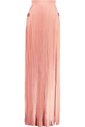 Balmain Pleated Stretch Knit Maxi Skirt Pink