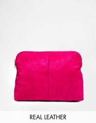 Asos Pony Effect Leather Clutch Bag Pink