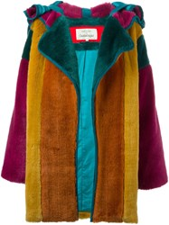 Jc De Castelbajac Vintage Colour Block Faux Fur Coat Green