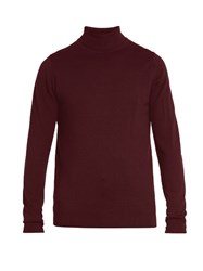 Sunspel Roll Neck Wool Sweater Burgundy
