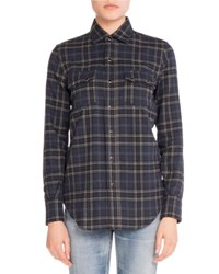 Saint Laurent Plaid Flannel Button Down Shirt Blue Gray Blue Gray