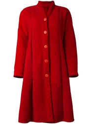Gianfranco Ferre Vintage Oversized Faux Fur Coat Red