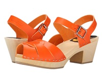 Swedish Hasbeens Peep Toe High Orange Women's 1 2 Inch Heel Shoes