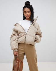 Pull And Bear Pullandbear Removal Hood Puffer Jacket Beige