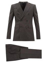 Burberry Double Breasted Checked Wool Blend Suit Grey
