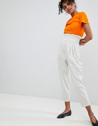 Monki High Waist Stripe Trousers Multi