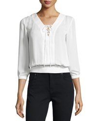 Laundry By Shelli Segal Platinum Lace Up Woven Blouse Warm White
