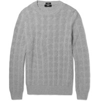 Hugo Boss Cable Knit Cotton Sweater Gray