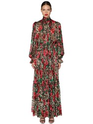 Dolce And Gabbana Leopard Rose Chiffon Stretch Jumpsuit Multicolor