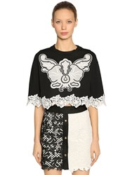 Fausto Puglisi Jersey Cropped T Shirt W Lace Black White