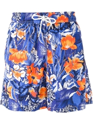 Hackett Hibiscus Print Swim Shorts Blue