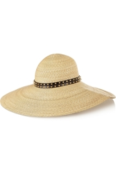 Philip Treacy Studded Leather Trimmed Woven Straw Sunhat