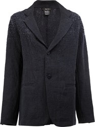 Avant Toi Distressed Linen Blazer Blue