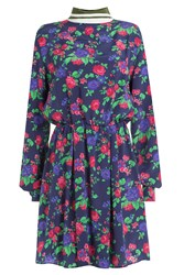 Msgm Printed Silk Dress Multicolor