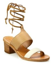 Soludos Colorblock Leather Ankle Wrap Sandals Ivory Nude