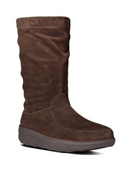 Fitflop Loaff Tm Slouchy Suede Mid Calf Boots Dark Brown