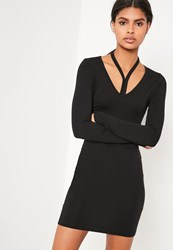 Missguided Black Harness Neck Long Sleeve Bodycon Dress