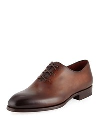 Magnanni Lace Up One Piece Leather Dress Shoes Brown