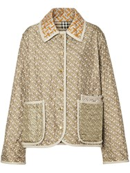 Burberry Monogram Print Quilted Silk Jacket Neutrals