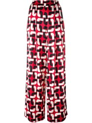 For Restless Sleepers Geometric Print Palazzo Pants Red