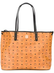 Mcm Logo Print Tote Bag Nude And Neutrals