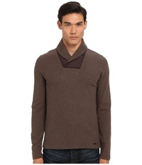 Michael Kors Waffle Shawl Pullover Chestnut Melange Men's Long Sleeve Pullover Gray
