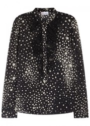 Red Valentino Black Star Print Chiffon Blouse Black And White
