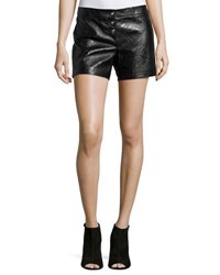 Versace Embossed Leather Mid Rise Shorts Black