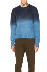 Marni Degrade Crew Neck Sweater In Blue Ombre And Tie Dye