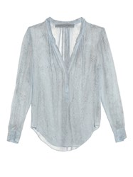 Raquel Allegra Rainwash Tie Dye Silk Chiffon Blouse