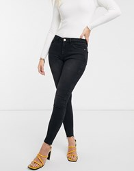 River Island Amelie Skinny Jeans In Washed Black