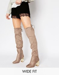 New Look Wide Fit Suedette Tie Back Over The Knee Boot With Metal Block Heel Brown