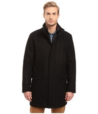 Marc New York Stanford Pressed Wool Car Coat With Removable Quilted Bib Black Men's Coat