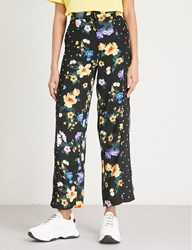 Moandco. Floral Dotted Print Cropped Crepe Trousers Mix Print