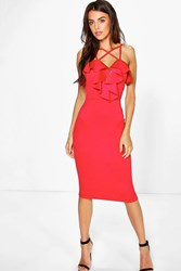 Boohoo Strappy Frill Detail Midi Bodycon Dress Red