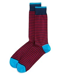 Bloomingdale's The Men's Store At Stripe Mercerized Cotton Blend Dress Socks Fire Red