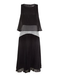 Pied A Terre Pleated Two In One Dress Black White