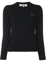 Comme Des Garcons Play Embroidered Heart Jumper Black